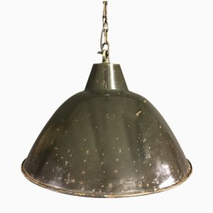 Vintage Black Enamel Factory Pendant Light