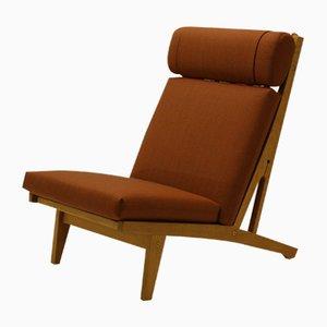 Danish Oak GE375 Lounge Chair by Hans J. Wegner for Getama, 1970s