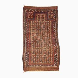 Alfombra de oración baluchi afgana antigua hecha a mano, década de 1880