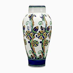 Große Art Deco Vase von Charles Catteau für Boch Frères, 1927