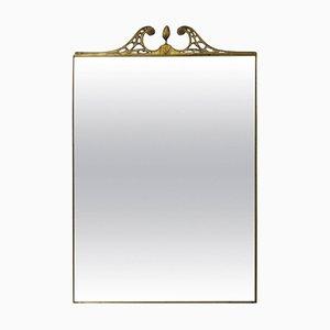 Espejo de pared italiano grande con marco de latón, años 50