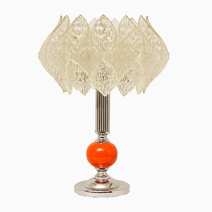 Mid-Century Table Lamp with Lotus Shade