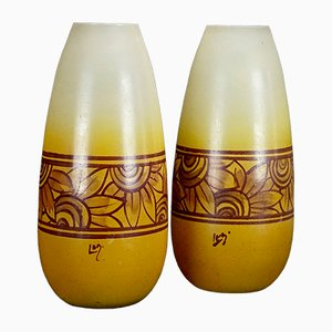 French Art Deco Vases by Auguste Legras, Set of 2