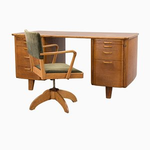 Art Deco Swedish Desk and Swivel Chair from Facit AB in Atvidaberg
