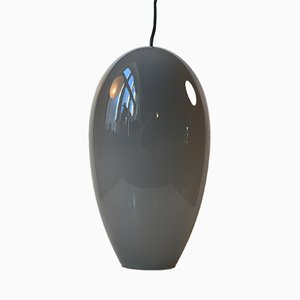 Modernist Egg Shaped Life Pendant in Grey Opaline Glass by Jo Hammerborg for Fog & Mørup, 1960s