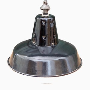 Vintage French Black Industrial Pendant Lamp