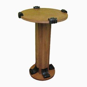 Mesa de columna de madera de arce, años 40