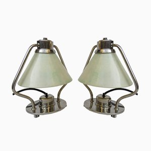 Art Deco Nickel-Pated Table Lamps, Set of 2