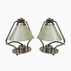 Lampade da tavolo Art Deco placcate in nichel, set di 2
