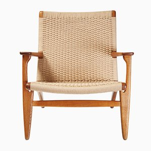 Vintage CH-25 Oak Lounge Chair by Hans J. Wegner for Carl Hansen & Søn, 1950s
