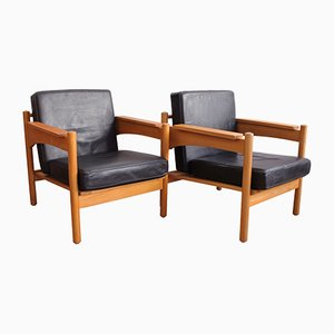 Leather Armchairs from Ustredi Umelecke Lidove Tvorby, 1970s, Set of 2