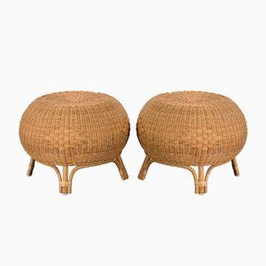 Mid-Century Scandinavian Rattan and Bamboo Stools, Set of 2