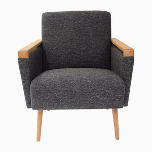 Square Graphite-Colored German Armchair, 1960s
