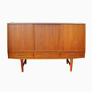 Danish Teak Highboard with Sliding Doors, 1960s
