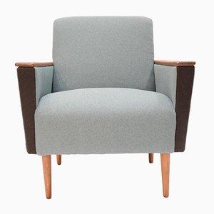Kubischer Vintage Sessel mit Zweifarbigem Stoffbezug