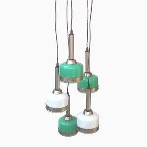 Lampada a sospensione in vetro di Murano bianco e verde di Vistosi, anni '60