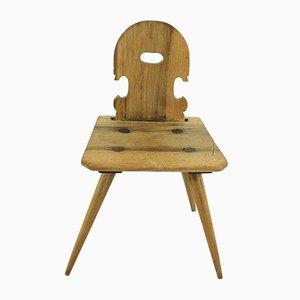 Chaise Antique de Ferme en Noyer, 1850s