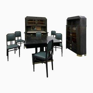 Ensemble de Salle à Manger Antique Art Nouveau Dining Set avec Deux Placards