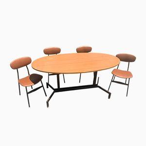 Mid-Century Modern Danish Teak Table & 4 Chairs, 1950s, Set of 5