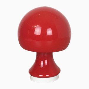 Rote Mushroom Glas Schreibtischlampe von Peill & Putzler, 1960er