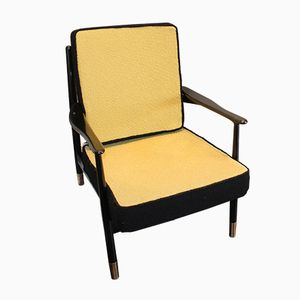 Vintage Armchair with Brass Feet, 1960s