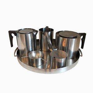 Danish Cylinda Tea Service by Arne Jacobsen for Stelton, 1960s