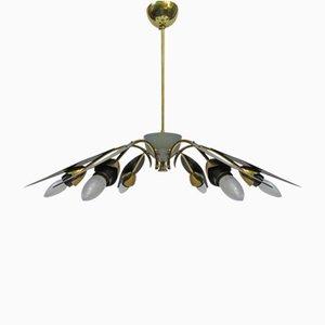 Lámpara de techo Sputnik italiana de seis luces, años 50