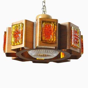 Lámpara colgante danesa vintage de teca, años 60