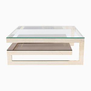 Tavolino da caffè quadrato a due livelli placcato in oro di M2000, anni '70