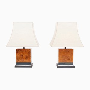Burl Lamps by Jean Claude Mahey, 1970s, Set of 2