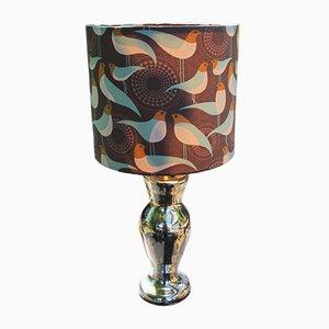 Lampada da tavolo vintage in vetro argentato