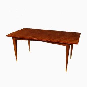 Italienischer Mahagoni Tisch mit Messing Intarsie, 1970er