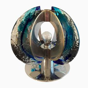 Lámpara de mesa de cristal de Murano y acero cromado de Angelo Brotto para Esperia, 1974