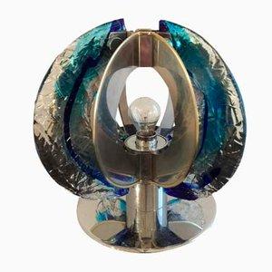 Lampe de Bureau en Verre de Murano et Acier Chromé par Angelo Brotto pour Esperia, 1974