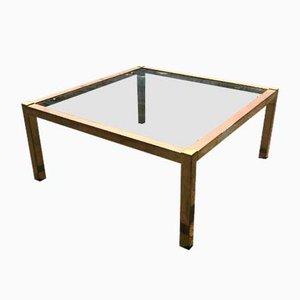 Tavolino da caffè Mid-Century minimalista in ottone e vetro