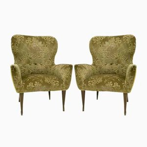 Vintage Italian Green Velvet Armchairs, 1950s, Set of 2