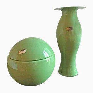 Jarrón y caja centro de mesa verde de Carlo Nason para Mazzega, años 70