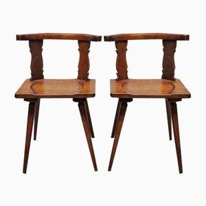 Chaises Antiques en Bois, Set de 2