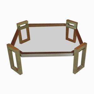Niedriger Messing & Rauchglas Cocktail Tisch von Romeo Rega, 1970er