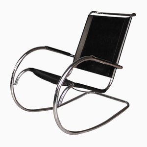 Mid-Century Steel Tube Rocking Chair by Mies van der Rohe for Knoll