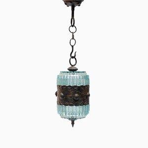 Lámpara colgante italiana de vidrio de Poliarte, años 70