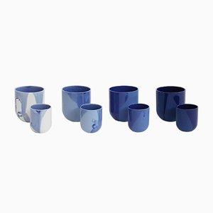 Sum Tassen in Blauem Lack von De Intuïtiefabriek, 4er Set