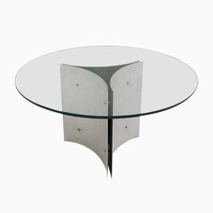 Runder Esstisch aus Stahl & Glas, 1970er