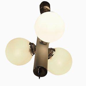 Lámpara colgante Mid-Century de vidrio opalino y cromo de Gaetano Sciolari