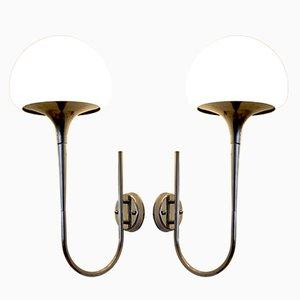 Lámparas de pared italianas Mid-Century de Goffredo Reggiani. Juego de 2