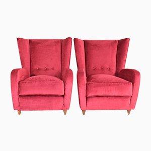 Rote Italienische Sessel aus Samt, 1950er, 2er Set