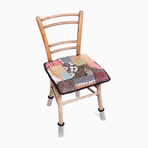 Chaise Antique en Bois avec Patchwork en Mosaïque de Yukiko Nagai, 2013
