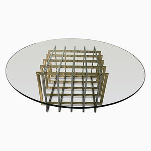 Couchtisch mit Gitterfuß aus Messing & Chrom von Pierre Cardin, 1970er