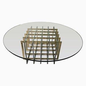 Tavolino da caffè con base a rete in ottone e cromata di Pierre Cardin, anni '70