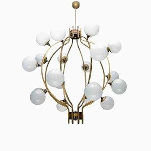 Lámpara de araña Mid-Century con forma de jaula de latón esférica